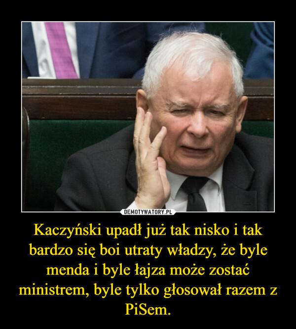 Kaczyński upadł już tak nisko i tak bardzo się boi utraty władzy, że byle menda i byle łajza może zostać ministrem, byle tylko głosował razem z PiSem. –