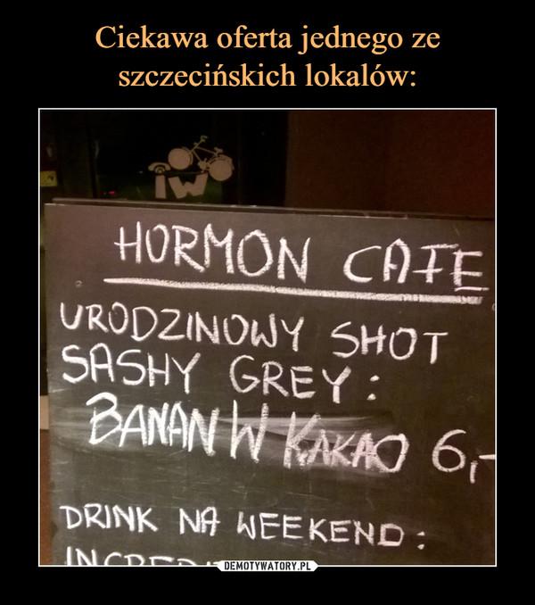 –  Hormon cafe Urodzinowy szot sashy grey: banany w kakao Drink na weekend