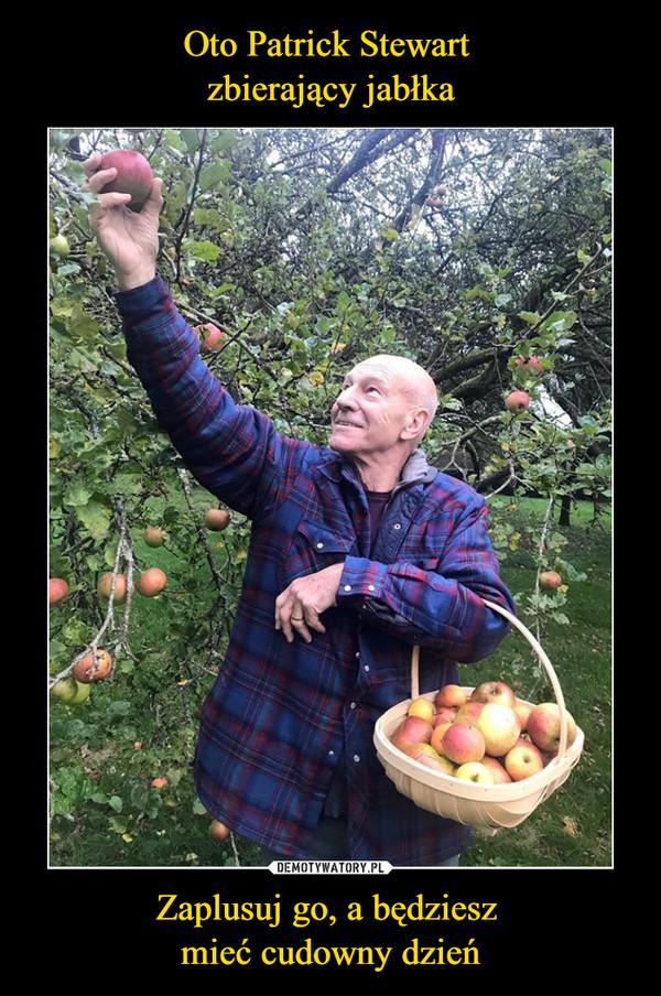 Oto Patrick Stewart zbierający jabłka Zaplusuj go, a będziesz mieć cudowny dzień